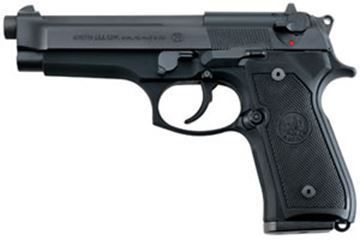 "Picture of Beretta 92 FS DA/SA Semi-Auto Pistol - 9mm, 125mm (4.9""), Chrome-Lined, Matte Black, Bruniton Steel Slide, Matte Black Anodized Alloy Frame, Black Plastic Grips, 2x10rds, 3-Dot Sights"