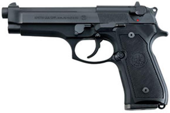 "Picture of Beretta 92 FS DA/SA Semi-Auto Pistol - 9mm, 125mm (4.9""), Chrome-Lined, Matte Black, Bruniton Steel Slide, Matte Black Anodized Alloy Frame, Black Plastic Grips, 2x10rds, 3-Dot Sights"