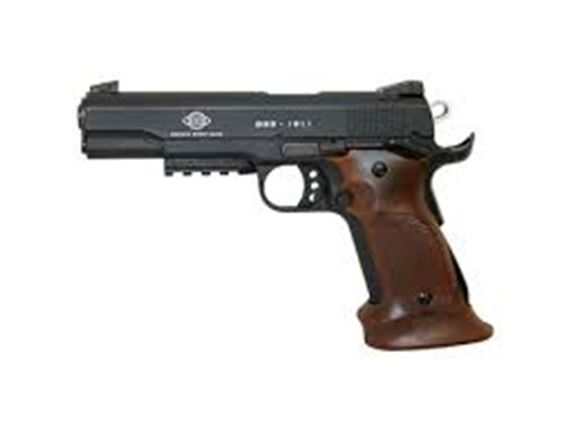 "Picture of German Sport Guns (GSG) 1911 Target Rimfire Single Action Semi-Auto Pistol - 22 LR, 5"", Black, Molded Wood-Coloured Synthetic Grips, 10rds"