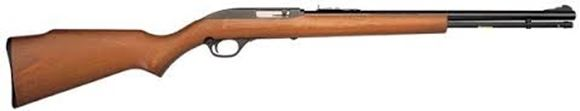 "Picture of Marlin Model 60 Rimfire Semi-Auto Rifle - 22 LR, 19"", Micro-Groove Rifling, Blued, Monte Carlo Walnut-Finished Laminated Hardwood Stock w/Full Pistol Grip & Mar-Shield Finish, 14rds, Ramp Front & Adjustable Rear Open Sights"
