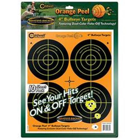 """Picture of Caldwell Shooting Supplies Paper Targets - Orange Peel Bullseye Targets, 4"""", Orange, Adhesive-Backed, Featuring Dual-Color Flake-Off Technology, 10 Sheets Pack"""