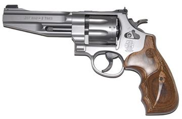 """Picture of Smith & Wesson (S&W) Performance Center Model 627-5 DA/SA Revolver - 357 Mag, 5"""", Matte Silver, Stainless Steel Frame & Cylinder, Large Frame (N), Wood & 2nd Synthetic Grip, 8rds, Gold Bead Front & Adjustable Rear Sights"""