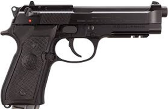 "Picture of Beretta 92 A1 DA/SA Semi-Auto Pistol - 9mm, 125mm (4.9""), Chrome-Lined, Matte Black Bruniton Steel Slide, Matte Black Anodized Alloy Frame w/Integral Picatinny Rail, Black Plastic Grips, 2x10rds, 3-Dot Sights"