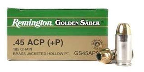Picture of Remington Premier Golden Saber High Performance Jacket Handgun Ammo - 45 Auto +P, 185Gr, BJHP, 25rds Box