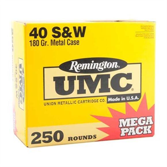 Picture of Remington Mega Pack UMC Pistol & Revolver Handgun Ammo - 40 S&W, 180Gr, MC, 250rds Box