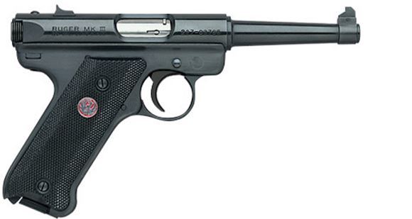 "Picture of Ruger Mark III Standard Rimfire Semi-Auto Pistol - 22 LR, 4.75"", Tapered Barrel, Blued, Alloy Steel, Checkered Grip, 2x10rds, Fixed Sights"