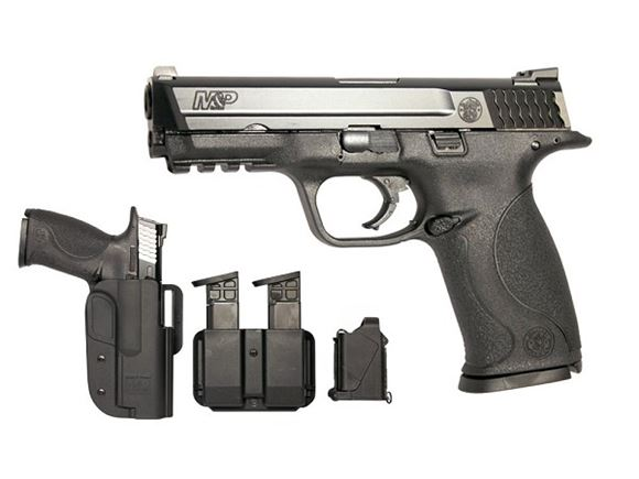"Picture of Smith & Wesson (S&W) M&P9 Striker Fire Action Semi-Auto Pistol Range Kit - 9mm, 4-1/4"", Black 68HRc Stainless Steel, Zytel Polymer Frame & Black 68HRc Stainless Steel Slide, Polymer Palmswell Grip, 3x10rds, White Dot Dovetail Front & Steel Low Profile Ca"
