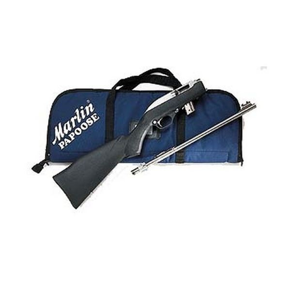 "Picture of Marlin Model 70PSS Stainless (Papoose) Rimfire Semi-Auto Rifle, 22 LR, 16-1/4"", Stainless Steel, Monte Carlo Black Fiberglass-Filled Synthetic Stock w/Abbreviated Fore-End, 7rds, Ramp Front w/High Visibility Orange Post & Cutaway Wide-Scan Hood & Adjusta"