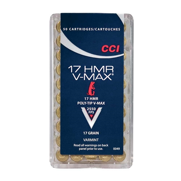 Picture of CCI Varmint Rimfire Ammo - V-MAX, 17 HMR, 17Gr, Poly-Tip V-Max, 500rds Brick, 2550fps
