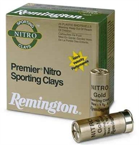 "Picture of Remington Target Loads, Premier Nitro Gold Sporting Clays Target Loads Shotgun Ammo - 12Ga, 2-3/4"", MAX DE, 1-1/8oz, #7-1/2, Extra Hard STS Target Shot, 250rds Case, 1300fps"