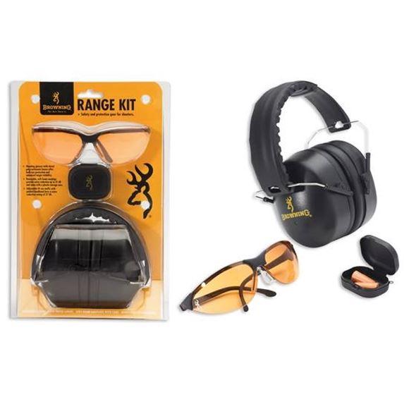 Picture of Browning Shooting Accessories, Eye & Ear Protection - Range Kit (Foam Earplugs, Glasses, Muff), NRR 27 dB, Black