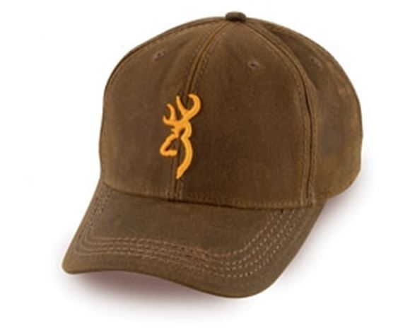 Picture of Browning Outdoor Clothing, Caps/Headwear - Dura-Wax Solid Color Cap with 3-D Buckmark, Brown, Hook and Loop, Cotton, One Size Fits Most