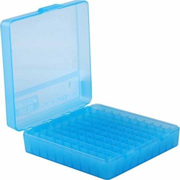 Picture of MTM Case-Gard Handgun Ammo Boxes, P-100 Series - P-100-9, 100rds, Clear Blue