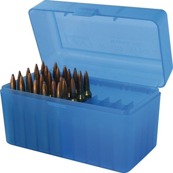 Picture of MTM Case-Gard R-50 Series Rifle Ammo Box - RL-50, 50rds, Clear Blue