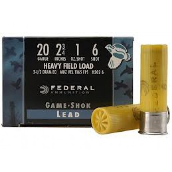 "Picture of Federal Game-Shok Upland Heavy Field Load Shotgun Ammo - 20Ga, 2-3/4"", 2-1/2DE, 1oz, #6, 250rds Case, 1165fps"