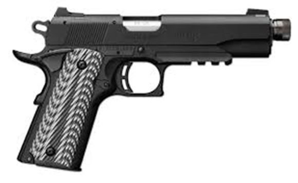 "Picture of Browning 1911-22 A1 Black Label Suppressor Ready w/Rail Rimfire Single Action Semi-Auto Pistol - 22 LR, 4-7/8"", Matte Black Aluminium Alloy Slide, Matte Black Composite Frame, Black & Grey G-10 w/Angled Serrations Grip Panels, 10rds, Dovetailed Combat Whi"