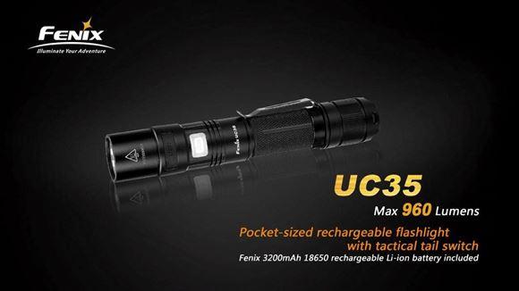 Picture of Fenix Flashlight, UC Series - UC35, Cree XM-L2 (U2), 960 Lumen, USB Charging/2xCR123A/1x18650, Black, 99g