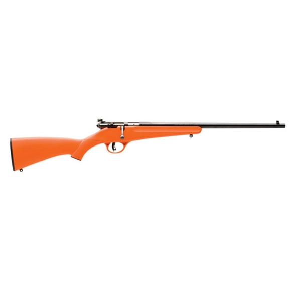 "Picture of Savage Arms Single Shot Series, Rascal Rimfire Single Shot Bolt Action Rifle - 22 S/L/LR, 16.125"", Satin Blued, Carbon Steel, Matte Orange Synthetic Stock, Adjustable Peep Sights, AccuTrigger"