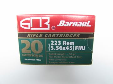 Picture of BarnauL Rifle Ammo - 223 Rem (5.56x45mm), 55Gr, FMJ, Lacquered Steel Case, Non-Corrosive, 20rds Box