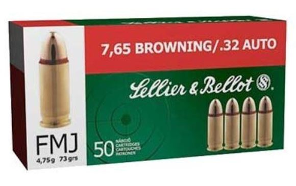 Picture of Sellier & Bellot Pistol & Revolver Ammo - 7.65mm Browning (32 Auto), 73Gr, FMJ, 50rds Box