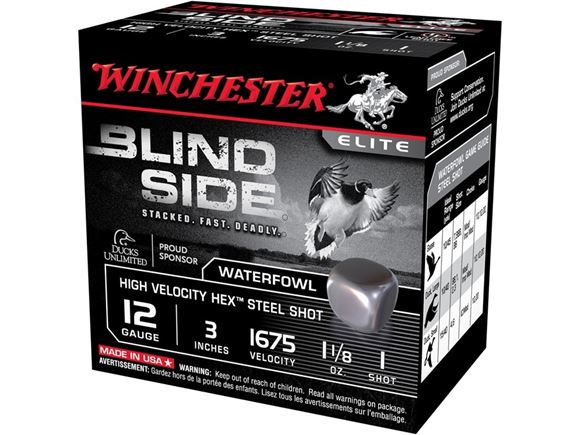 """Picture of Winchester Elite Blind Side High Velocity Waterfowl Load Shotgun Ammo - 12Ga, 3"""", 1-1/8 oz, #1, 25rds Box, 1675fps"""