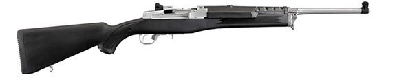 """Picture of Ruger Mini-14 Ranch Semi-Auto Rifle - 5.56mm NATO/223 Rem, 18.50"""", Matte Stainless, Stainless Steel, Black Synthetic Stock, 5rds, Blade Front & Adjustable Rear Sights"""