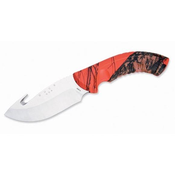 """Picture of Buck Hunting Knives - 392 Omni Hunter 12PT Knife, Satin Finish 420HC Stainless Steel, 4"""" Drop Point Fixed Blade, Mossy Oak Blaze Camo Alcryn Rubber Handle, Mossy Oak Blaze Heavy Duty Nylon Sheath"""