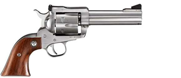 """Picture of Ruger New Model Blackhawk Stainless Single Action Revolver - 357 Mag, 4.62"""", Satin Stainless Steel, Hardwood Grips, 6rds, Ramp Front & Adjustable Rear Sights"""