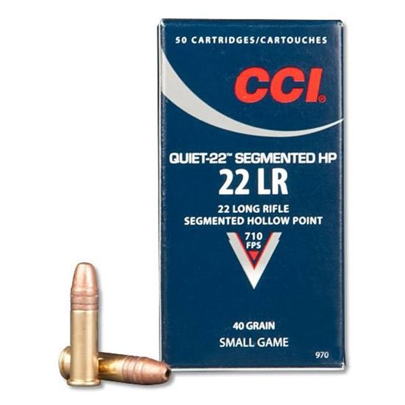 Picture of CCI Small Game Rimfire Ammo - Quiet-22 Segmented HP, 22 LR, 40Gr, CPSHP, 500rds Brick, 710fps