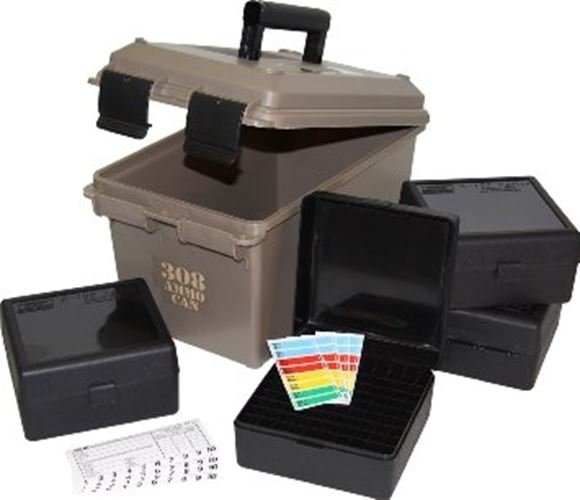 Picture of MTM Case-Gard Ammo Cans, Ammo Can Combo - AC50 (Dark Earth)+4xRS-100 (Tactical Black), Water-Resistant