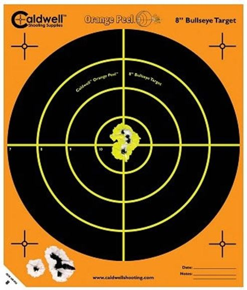 """Picture of Caldwell Shooting Supplies Paper Targets - Orange Peel Bullseye Targets, 12"""", Orange, Adhesive-Backed, Featuring Dual-Color Flake-Off Technology, 5 Sheet Pack"""