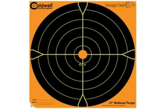 "Picture of Caldwell Shooting Supplies Paper Targets - Orange Peel Bullseye Targets, 12"", Orange, Adhesive-Backed, Featuring Dual-Color Flake-Off Technology, 50 Sheet Pack"