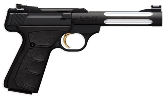 "Picture of Browning Buck Mark Lite Black Flute Rimfire Semi-Auto Pistol - 22 LR, 5-1/2"", Matte Black Alloy Receiver, Steel Barrel w/ Fluted Alloy Sleeve, Ultragrip FX Black Rubber Overmolded Grip, 10rds, Fiber Optic Front & Pro-Target Rear Sights"