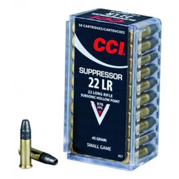 Picture of CCI Small Game Rimfire Ammo - Suppressor, 22 LR, 45Gr, LHP, 500rds Brick, 970fps