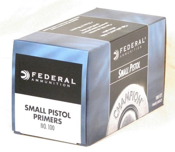 Picture of Federal Components, Federal Champion Centerfire Primers - No. 100, Small Pistol, 1000ct Brick