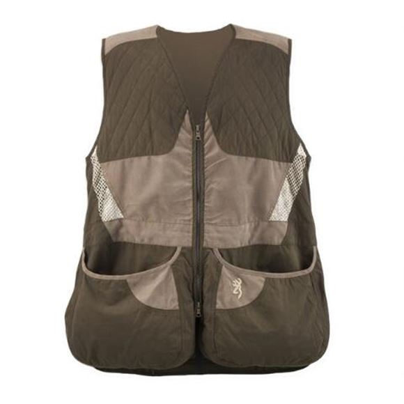 Picture of Browning Outdoor Clothing, Shooting Vests - Mens Summit Shooting Vest, Chocolate/Taupe, Right-Hand, S