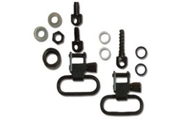"Picture of GrovTec GT Swivels, GT Locking Swivels For Shotguns - For Most Pumps & Autos, 3/4"" Wood Screw Swivel Stud Rear & 1 Pair GT Locking Swivels, 1"" Loops, Black-Oxide Finish"