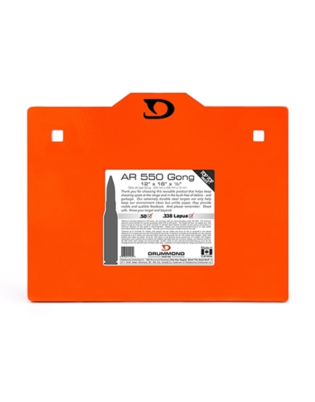 "Picture of Drummond Shooting Pop Pop Targets - AR 550 Gong, 12""x16""x1/2"", Neon Orange Powder Coat, w/Square Holes For Carriage Bolts, Up to 50BMG"
