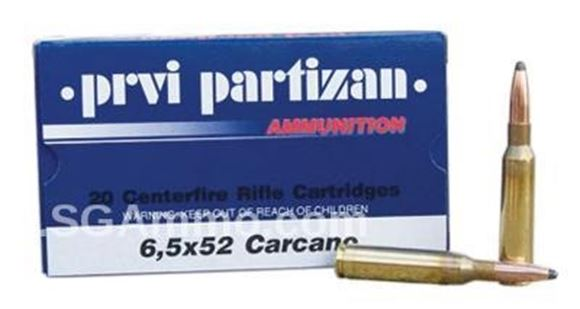 Picture of Prvi Partizan (PPU) Rifle Ammo - 6.5x52mm Carcano, 123Gr, SP, 20rds Box