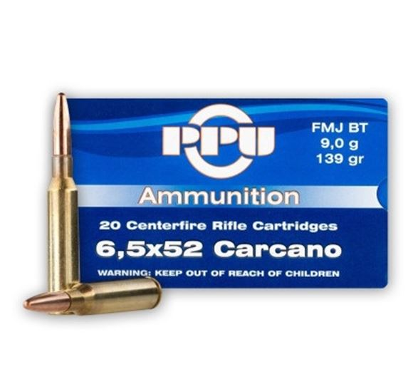 Picture of Prvi Partizan (PPU) Rifle Ammo - 6.5x52mm Carcano, 139Gr, FMJ, 20rds Box