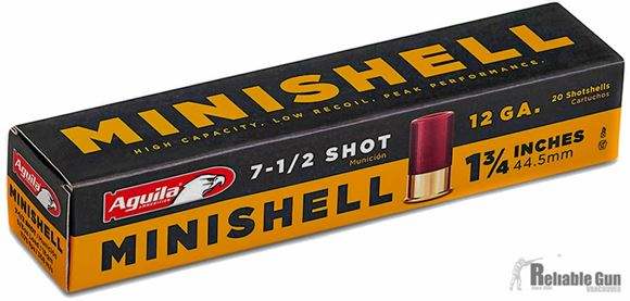 """Picture of Aguila Shotgun Ammo, Minishells - 12G, 7.5, 1 3/4"""", 5/8oz, Low Recoil, 1175fps, 20rds Box"""