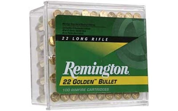 Picture of Remington .22 Rimfire, Golden Bullet HP Rimfire Ammo - High Velocity, 22 LR, 40Gr, Plated Lead Round Nose, 1/2 Case (25 Box, 2500rds), 1255fps