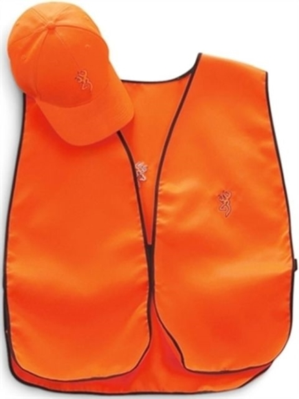 Picture of Browning Headwear - Cap Vest Safety Combo, Hook and Loop, Polyester & Spandex, One Size Fits Most