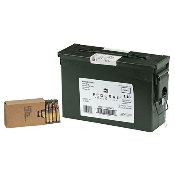 Picture of Federal Rifle Ammo - 5.56x45mm NATO, 62Gr, Green Tip (XM855/M19A Ball), Metal Case Boat-Tail, 420rds, w/Stripper Clips, Army Can