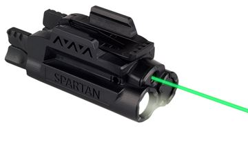 Picture of LaserMax Spartan Adjustable Light & Laser - Green Laser/Mint Light, AAA battery, 120 Lumens, Fits Picatinny & Weaver Rails