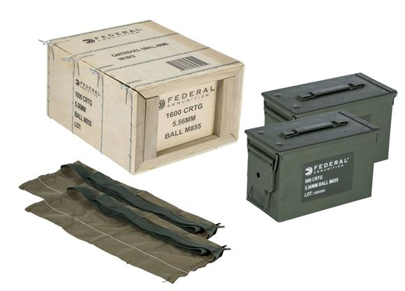 Picture of Federal Rifle Ammo - 5.56x45mm NATO, 62Gr, Full Metal Jacket-BT (M855 Ball), 2x800rds Can & 2xBandolier,1600rds Crate