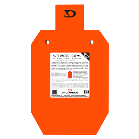 """Picture of Drummond Shooting IDPA Targets - AR 500 IDPA 2/3 Gong, 2/3IDPA""""x3/8"""", Neon Orange Powder Coat, w/Square Holes For Carriage Bolts, For 7.62x39/308/223/30-06 & More"""