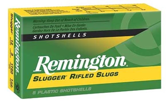 "Picture of Remington Slugs, Slugger Rifled Slugs Loads Shotgun Ammo - 12Ga, 3"", MAX DE, 1oz, RS, 5rds Box, 1760fps"