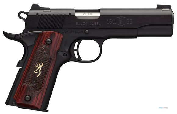"Picture of Browning 1911-22 Black Label Medallion Rimfire Single Action Semi-Auto Pistol - 22 LR, 4-1/4"", Matte Black Aluminium Alloy Slide, Matte Black Alloy Frame, Checkered Rosewood Grips w/ Gold Buckmark Inlay, 10rds, Fixed Black A1 Front & Rear Sights"
