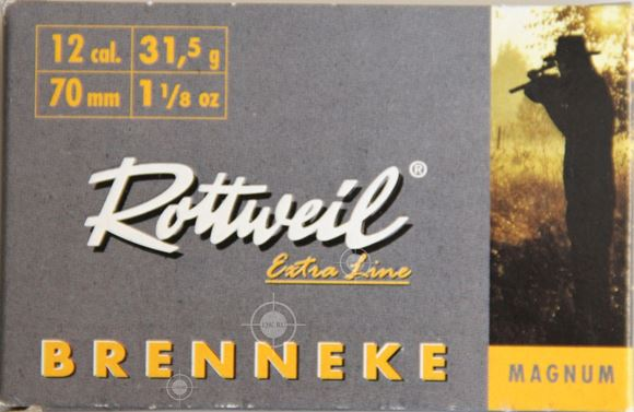 """Picture of RWS Rottweil Extra Line Hunting Shotgun Ammo - Brenneke Classic Magnum, 12Ga, 70mm (2-3/4""""), 31.5g, 1-1/8oz, Felt Wad/H-Wad Slug, 5rds Box"""